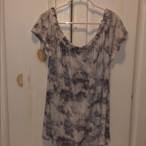 purple and white tie dye off the shoulder flowy